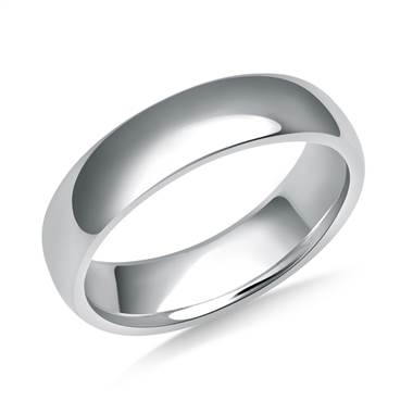 Nice and simple, just like he likes it. 5mm men's high polish comfort fit wedding band set in 18K white gold at B2C Jewels