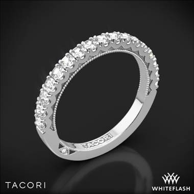 I adore this wedding band and placed a similar Tacori style on my wedding band list. Tacori clean crescent half eternity diamond wedding ring set in platinum at Whiteflash