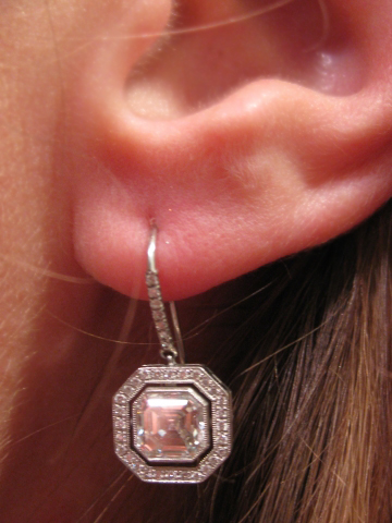 Asscher cut diamond halo earrings