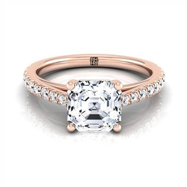 Classic four prong Asscher cut diamond engagement ring set in 14K rose gold at RockHer