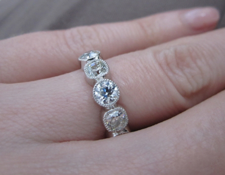 August Vintage Cushion, August Vintage Round Diamond Eternity Band