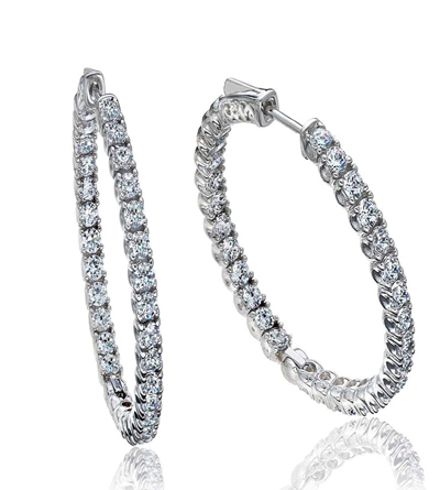 B2C jewels inside outside diamond hoops