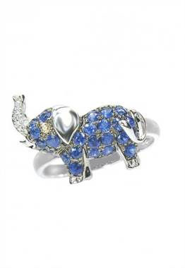 White gold sapphire and diamond elephant ring set in 14K gold