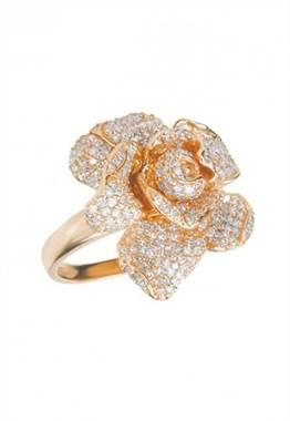 Jardin 14K rose gold diamond flower ring at EFFY