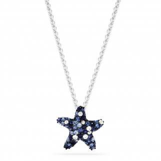 Sterling silver blue sapphire starfish pendant