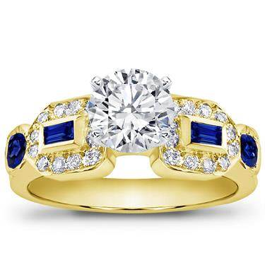 Baguette, Pave, and Sapphire Engagement Setting