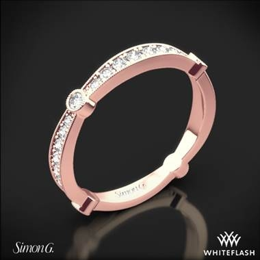 Simon G. delicate diamond wedding ring set in 18K rose gold at Whiteflash