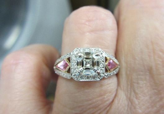 Beaudry Asscher Diamond Halo Ring with Pink Sapphires