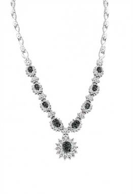 Bella bleu 14K white gold blue and white diamond necklace at EFFY