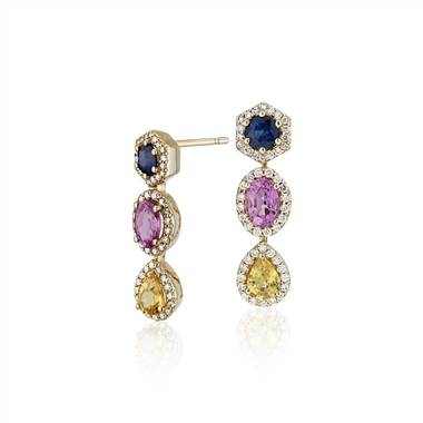 Multi-color sapphire and diamond halo drop earrings set in 18Kyellow gold at Blue Nile