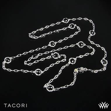 Tacori black lightning black onyx necklace set in sterling silver with 18K yellow gold accents at Whiteflash