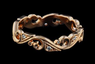 Beverley K 18k rose gold diamond band