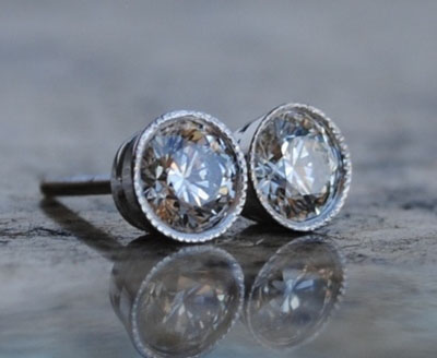 earrings stud bezel set pave round diamond