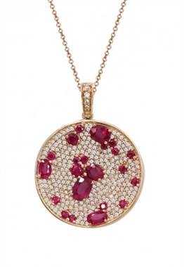 Gemma rose gold natural ruby and diamond pendant set in 14K rose gold at EFFY