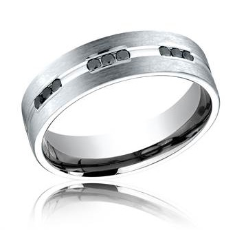 Satin finish black diamond wedding band in 18K white gold at I.D. Jewelry