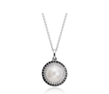 Freshwater cultured pearl and black diamond and white diamond halo pendant set in 14K white gold at Blue Nile