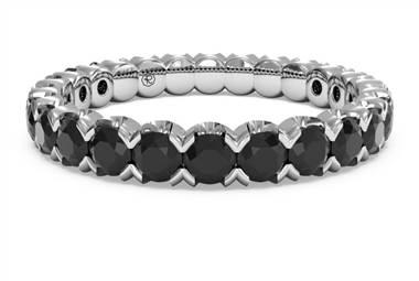 Classic black diamond stackable ring set in palladium at Ritani