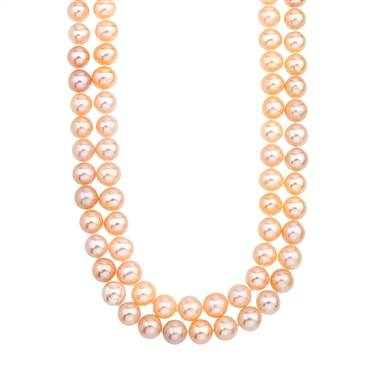 Double-strand pink freshwater pearl choker at B2C Jewels