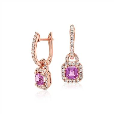 Pink sapphire halo drop earrings in rose gold setting at Blue Nile
