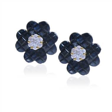 Sapphire and diamond earrings at I.D. Jewelry