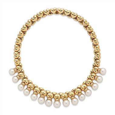 Cultured pearl and diamond necklace at Blue Nile