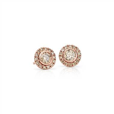 Champagne diamond halo earrings in rose gold at Blue Nile