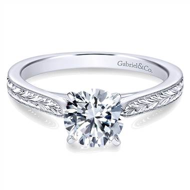 White gold milgrain and hand etched diamond engagement ring at Gabriel & Co.