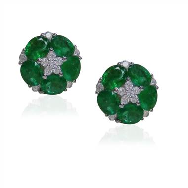 Floral emerald and diamond earrings in white gold at I.D. Jewelry