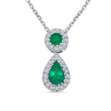 Emerald and diamond halo drop pendant necklace at B2C Jewels