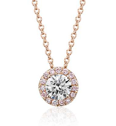Blue Nile pink diamond halo pendant in rose gold