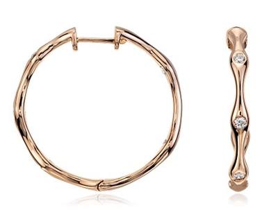 Blue Nile rose gold diamond hoops