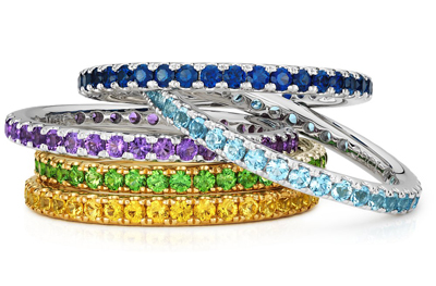 blue nile stackable rings with sapphire, amethyst, and diamonds