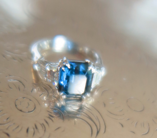 Blue spinel and diamond 5 stone ring shared by cokitty