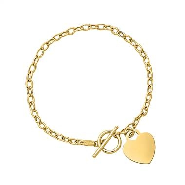 Link bracelet with dangling heart set in 14K yellow gold at B2C Jewels