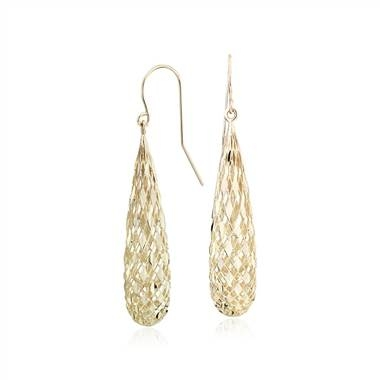Shimmer teardrop earrings set in 14K yellow gold at Blue Nile