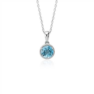 Blue topaz rope pendant set in sterling silver at Blue Nile
