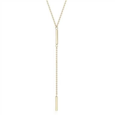 Double bar lariat Y-necklace set in 14K yellow gold at Blue Nile