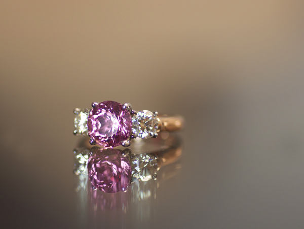 Spinel three stone diamond ring