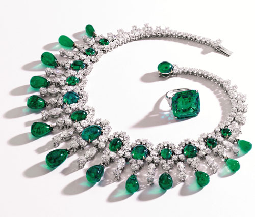 Brook Astor's emerald and diamond necklace and ring to be auctioned at Sotheby's
