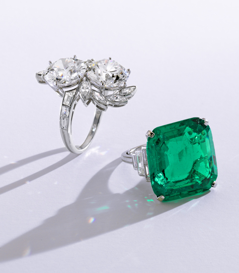 Brooke Astor diamond and emerald rings from Sotheby's 2012 auction