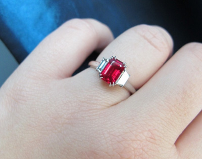 Burmese ruby and diamond three stone ring