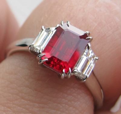 Burma ruby and diamond three stone ring