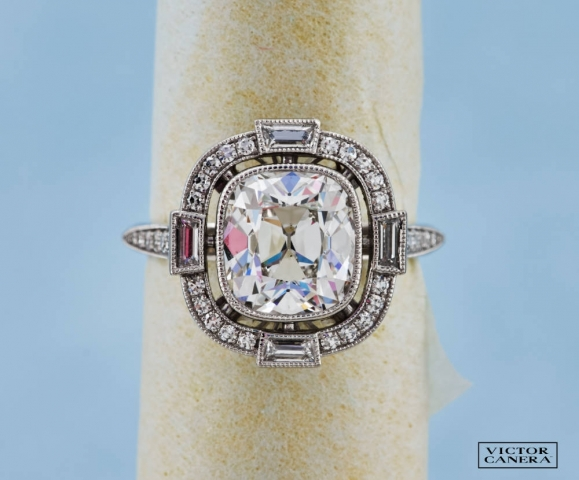 Victor Canera Antique Cushion Cut in French Cut Halo for CarbonFan