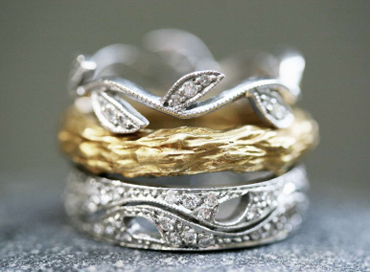 Cathy Waterman platinum leaf rings with 22k gold branch ring