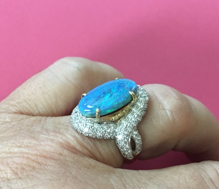 Catmom's Mother's Day/Birthday Opal Ring Side View