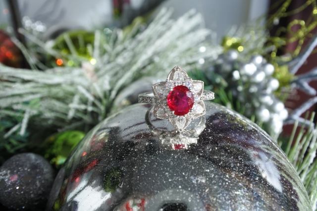 Catmom's Ruby Ring with diamond petals like a halo