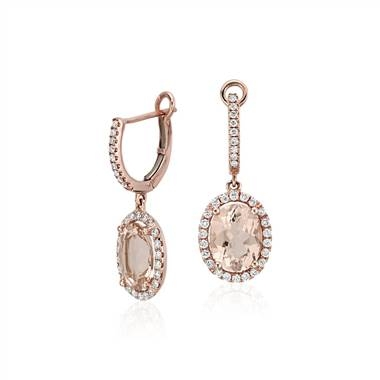 The perfect embodiment of cherry blossom season. Morganite and diamond drop earrings set in 14K rose gold at Blue Nile