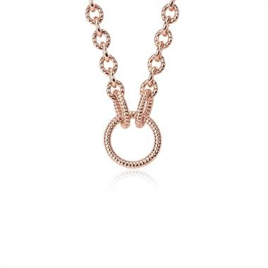 Textured link necklace in rose gold vermeil at Blue Nile