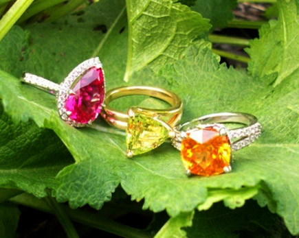 Mahenge Spinel, Loliondo Spessartite Garnet,  Chrysoberyl and Diamond Rings by Whiteflash