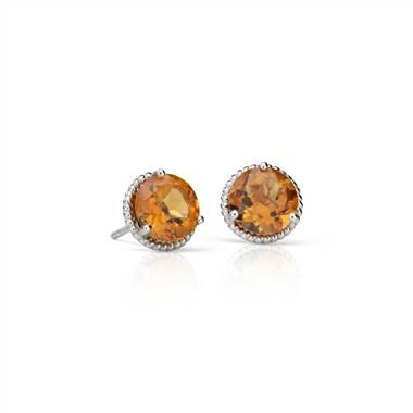 Citrine rope stud earrings set in sterling silver at Blue Nile